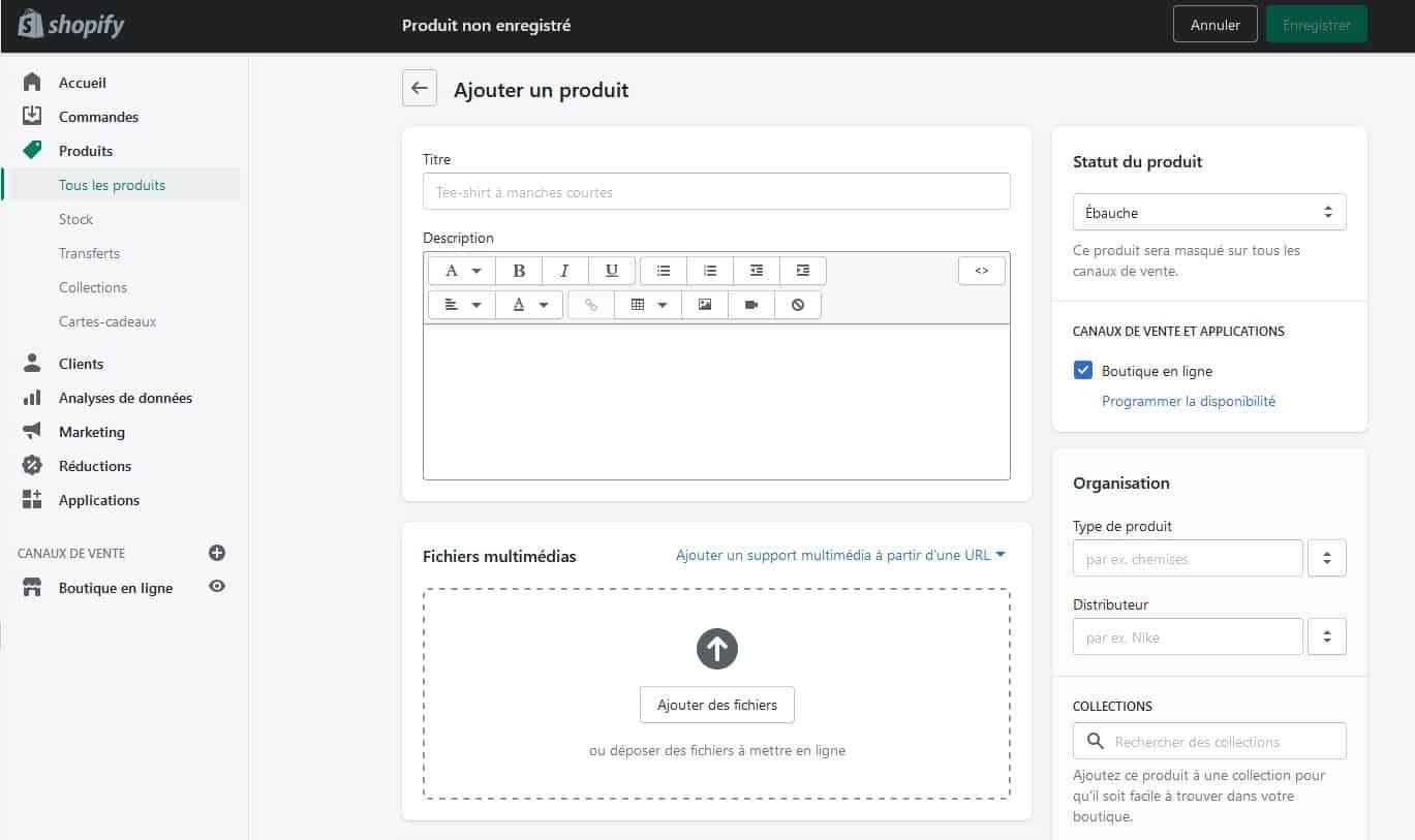 Drop Service avec Shopify - Ajouter un produit