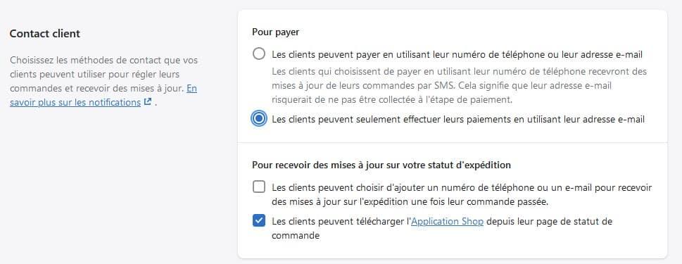 Drop servicign avec Shopify - configuration page de paiement