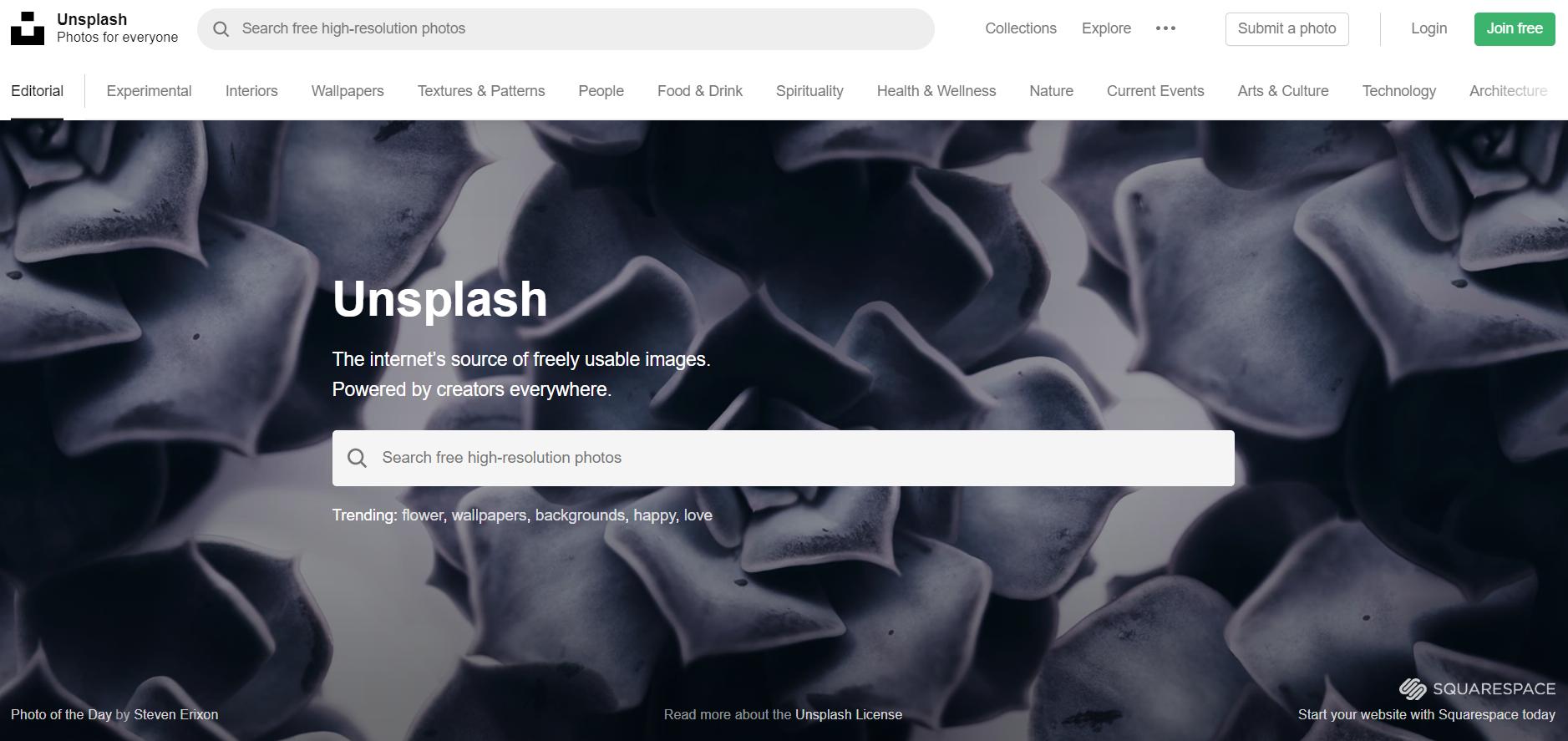Unsplsh : site de photos gratuites