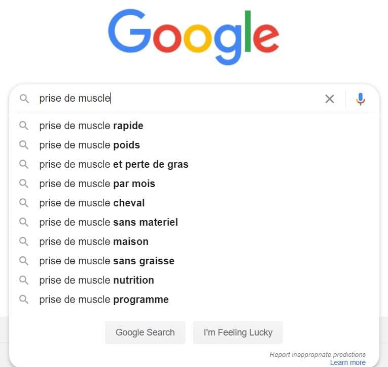 Résultat de la recherche google