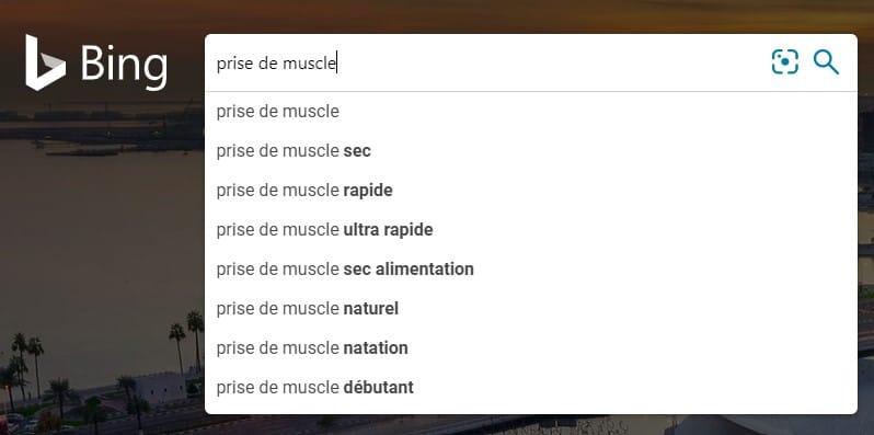 Recherche de mots clés avec Bing