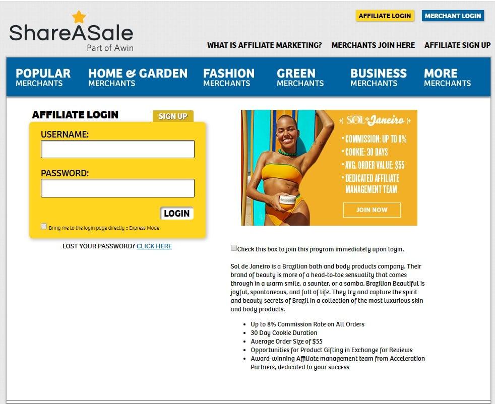 Share a sale Affiliation