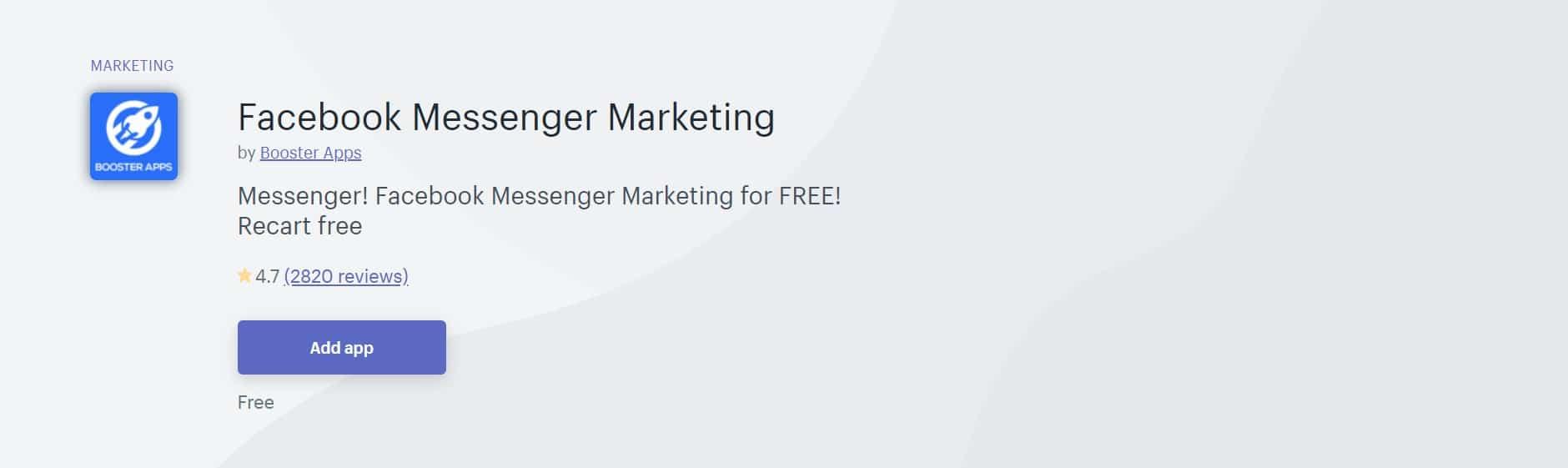 Application Shopify :  Facebook Messenger Marketing
