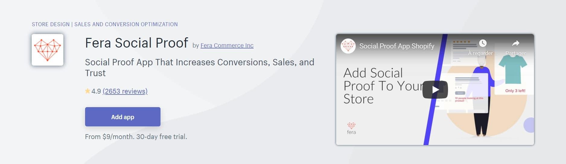 Application Shopify : Fera Social Proof