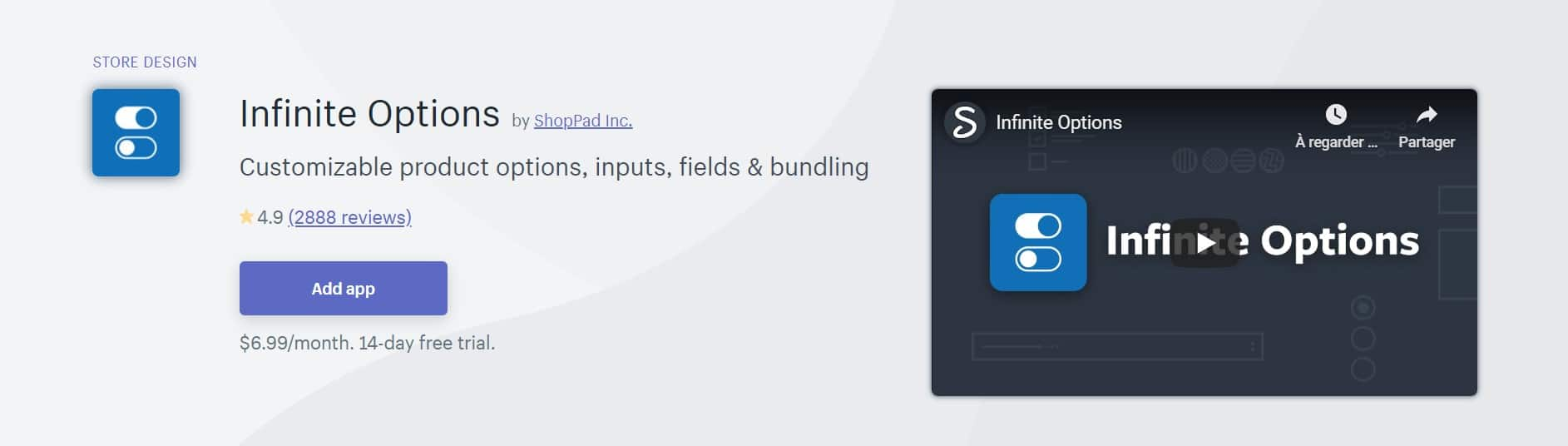 Application Shopify : Infinite options