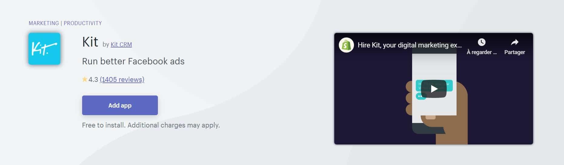 Application shopify : Kit