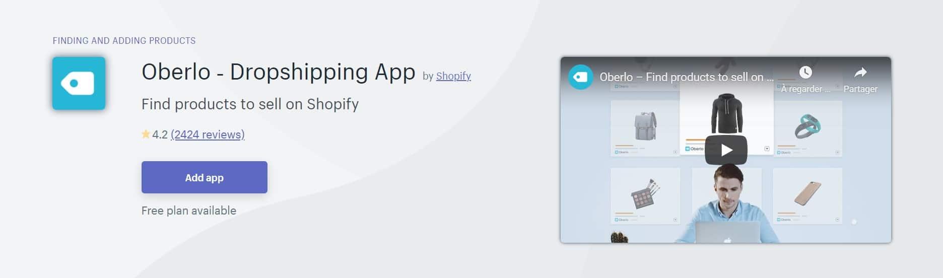 Application Shopify : Oberlo