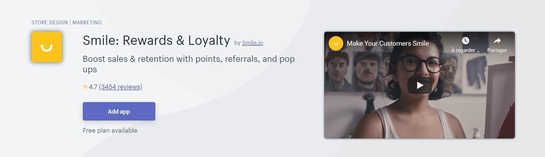 Application Shopify: Smile