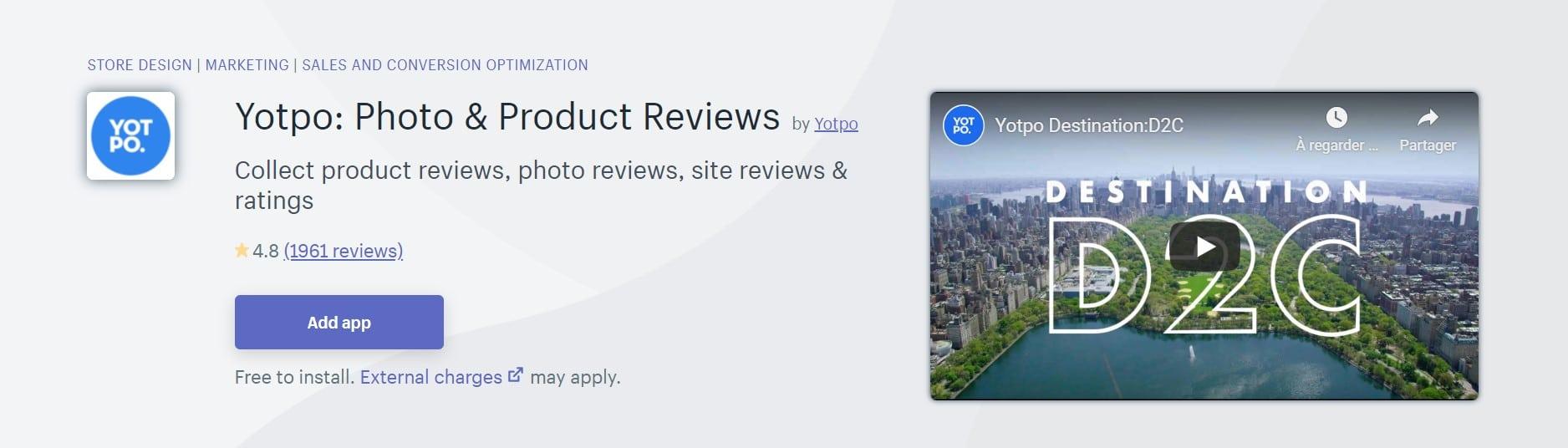 Application Shopify: Yotpo