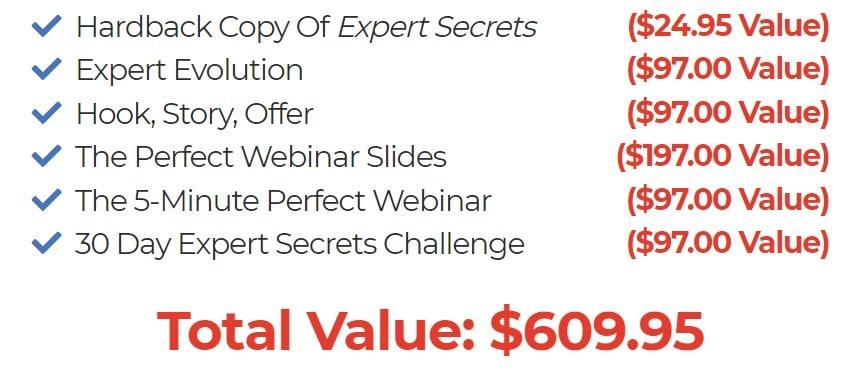Expert Secrets - les produits gratuits pour toute commande du livre