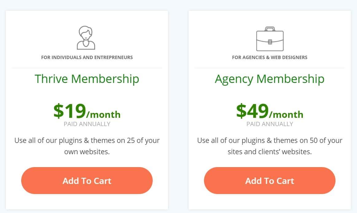 tableau de prix Thrive Membership