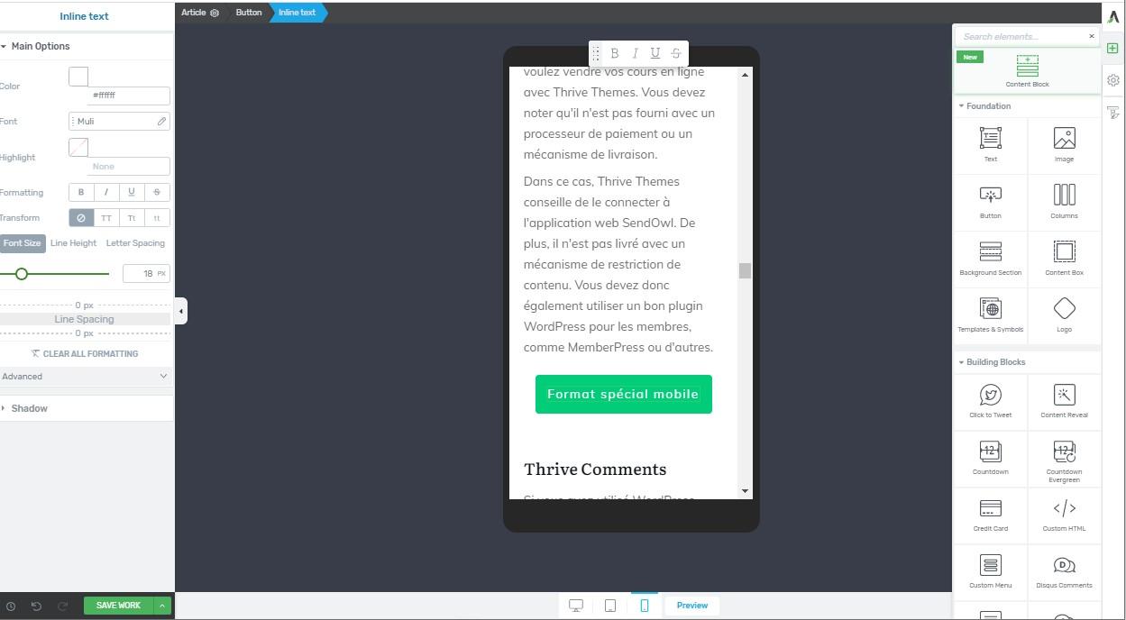 Thrive Architect - Compatibilité avec les mobiles