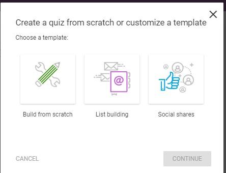 Thrive Quiz Builder, Choisir un template de Quiz