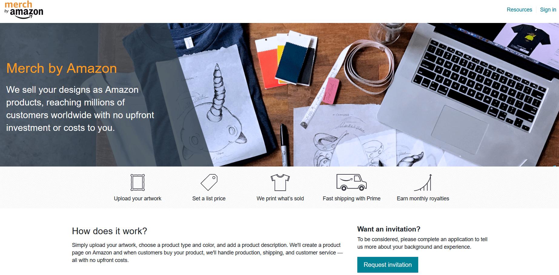Créez des designs et vendez des t-shirts avec Amazon merch le serveice de print on Demand (POD) d'Amazon