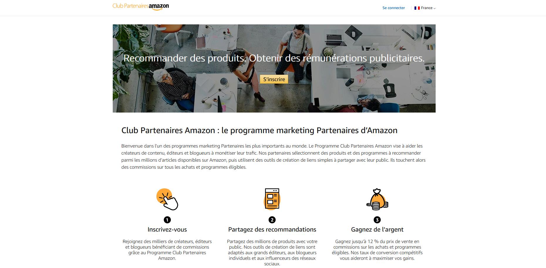 Gagnez de l'argent avec le programme  partenaires d'Amazon