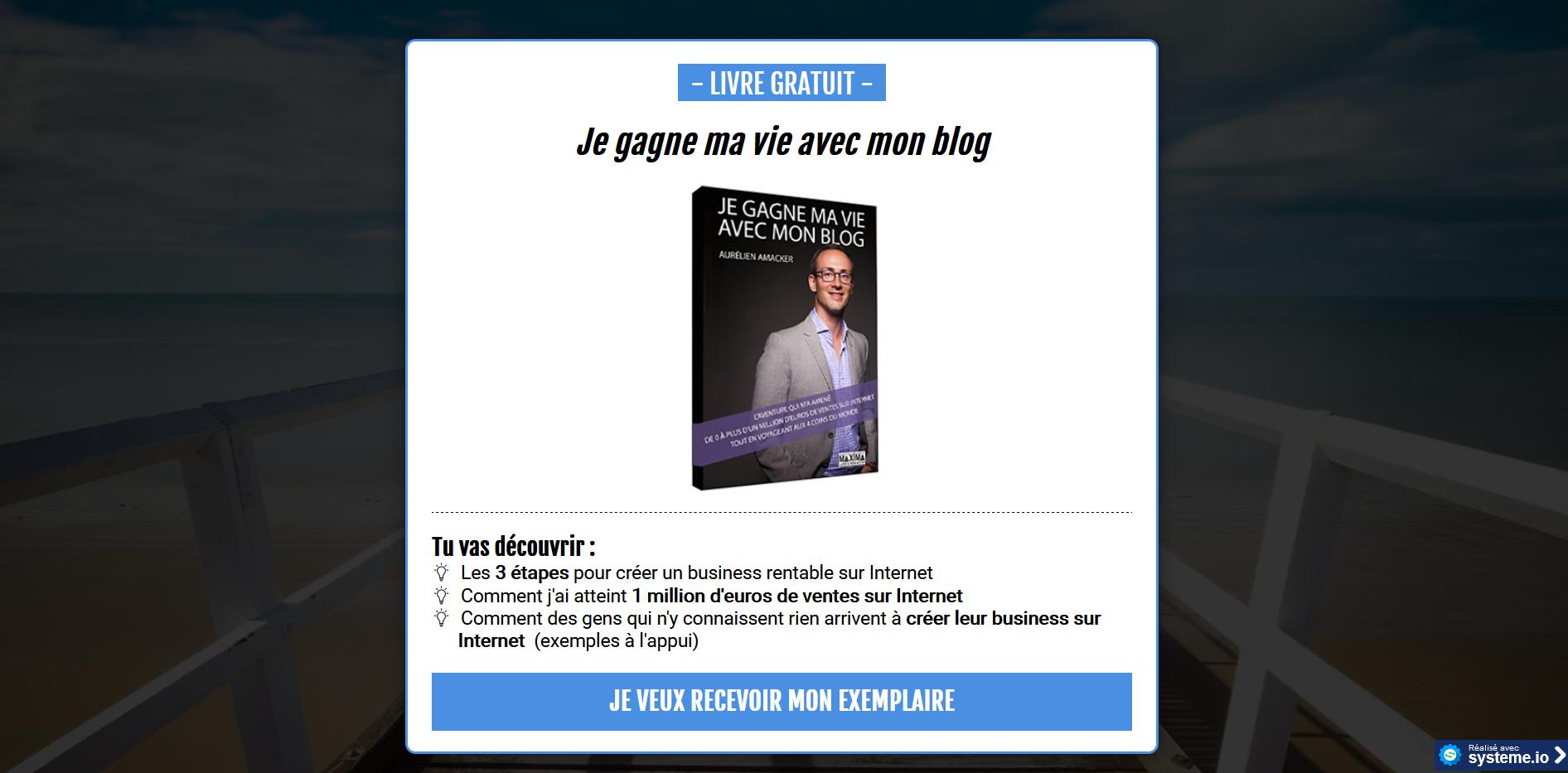 Livre Gratuit - Je gagne ma vie avec mon blog