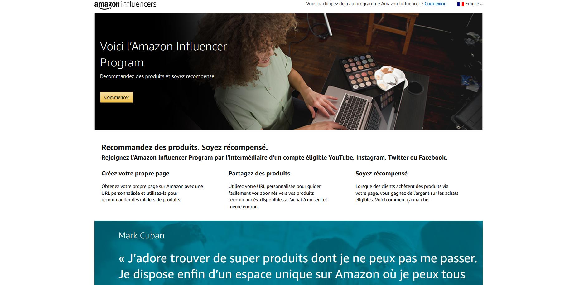 Gagner de l'argent avec le programme influencer d'Amazon