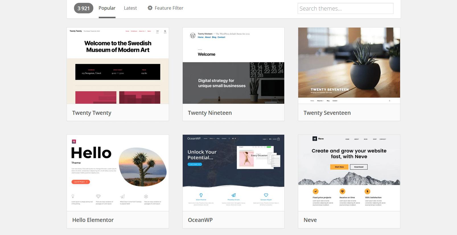 Des milliers des thèmes sont à disposition sur WordPress