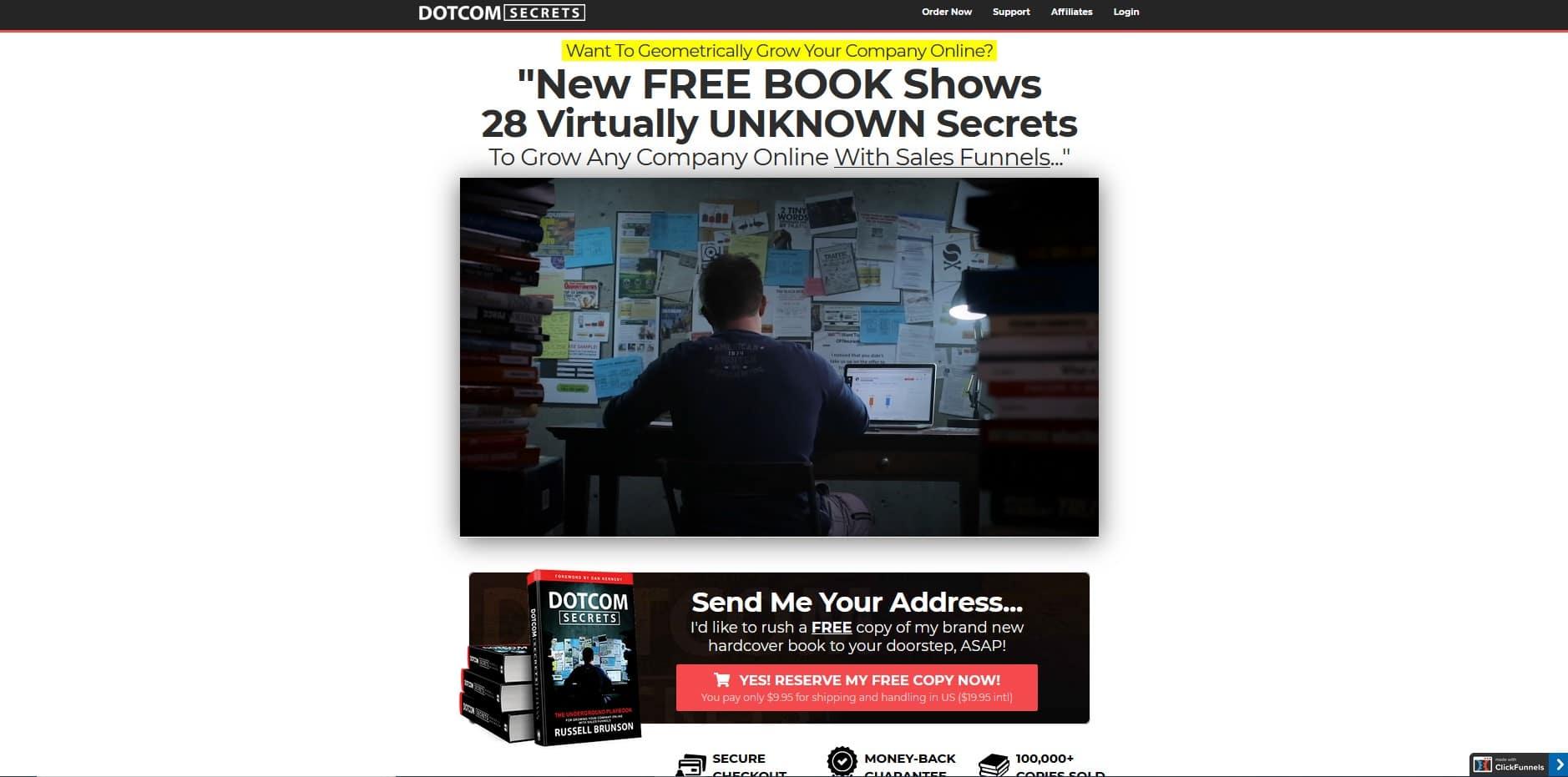 Clickfunnels et Russell Brunson -DotCom secrets en free + shipping