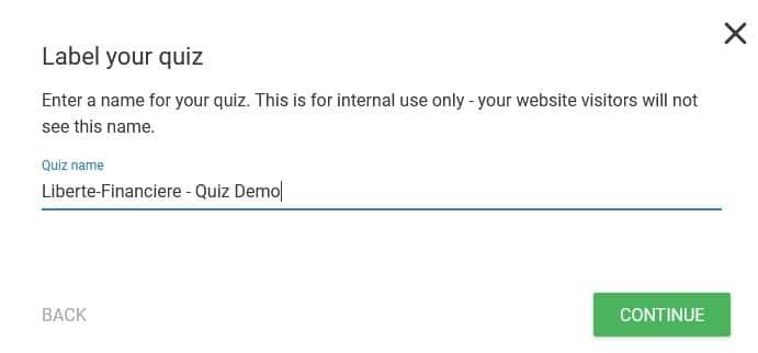 Thrive Quiz Builder - Donner un nom à votre nouveau Quiz