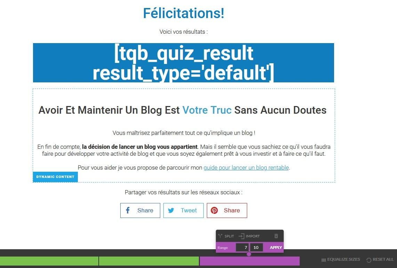 Thrive Quiz Builder Affichage différent en fonction du résultat