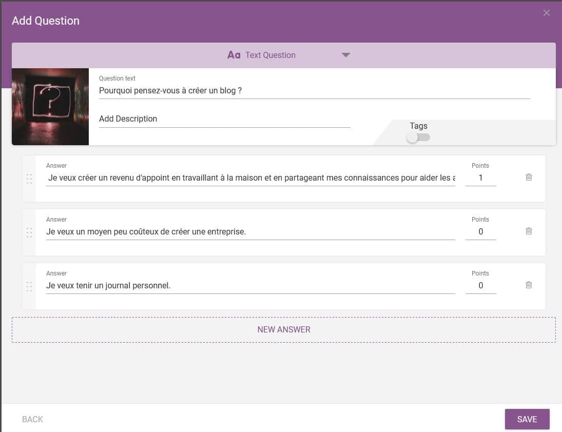 Thrive Quiz Builder - Saisir votre question et les réponses associées