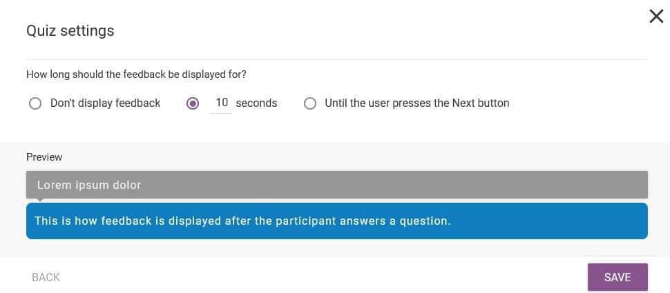 Thrive Quiz Builder - Choisir l'affichage du feedback