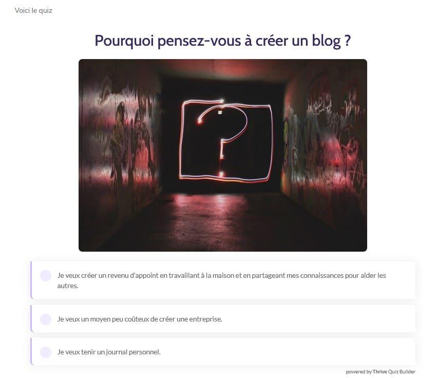 Le quiz sur la page de votre blog