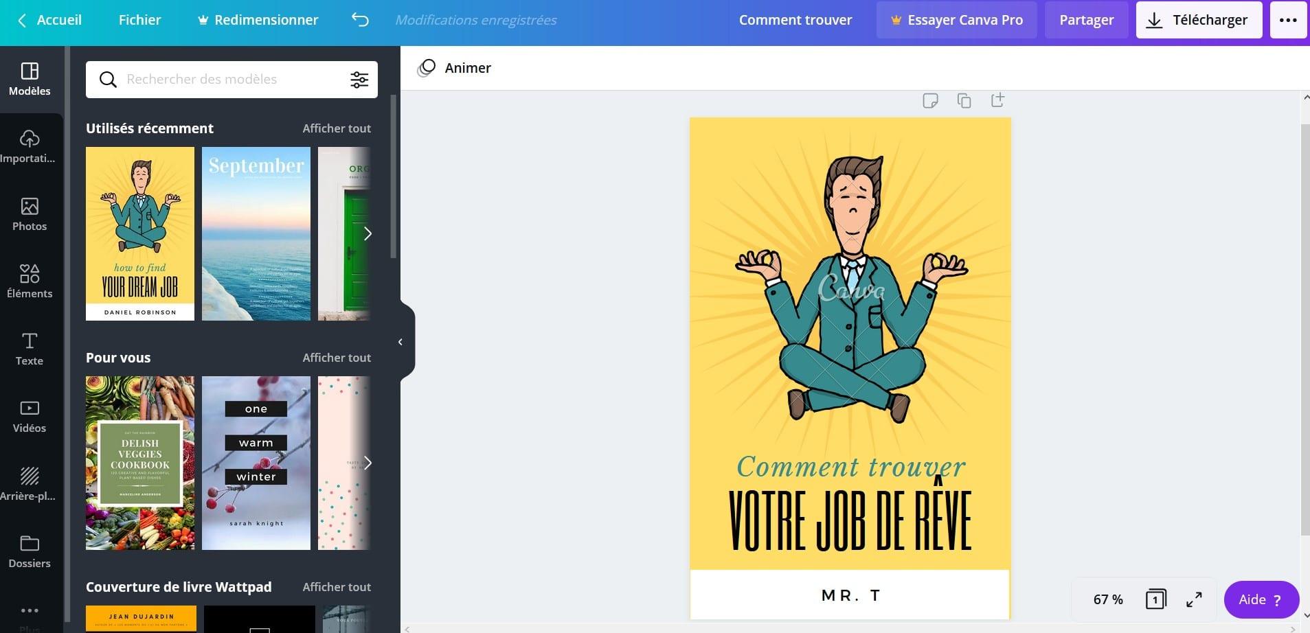 Création de produit numérique - la couverture de l'ebook avec Canva