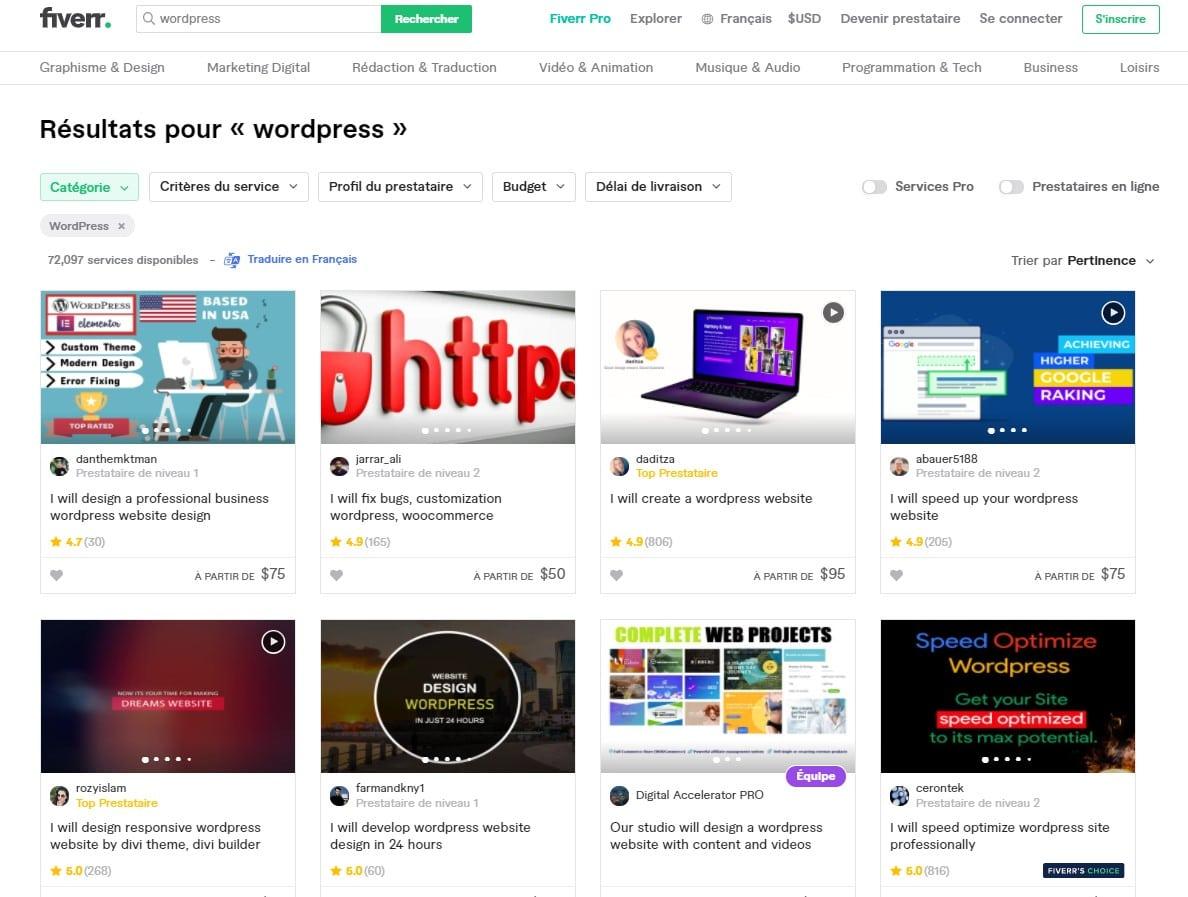 Fiverr - liste des services WordPress