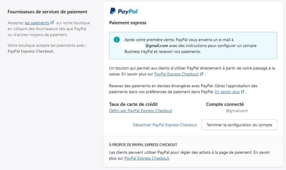 Drop Servicing avec Shopify - configuration Paypal